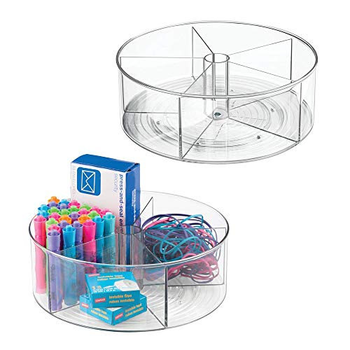 Clear Divided - mDesign Deep Plastic Lazy Susan Turntable Storage Container - Divided Spinning Organizer for Home Office Supplies, Pens, Erasers, Tape, Colored Pencils - 2 Pack - Clear