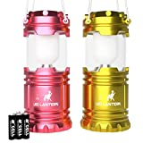 LED Camping Lantern - MalloMe LED Camping Lantern Flashlights For Backpacking & Camping Equipment Lights - Best Gift Ideas (6 AA Batteries Included), Pink & Yellow