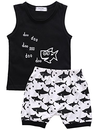 Toddler Baby Boy Summer Clothes Set Cotton Sleeveless T-Shirt Vest Geometric Print Short Pants Outfit