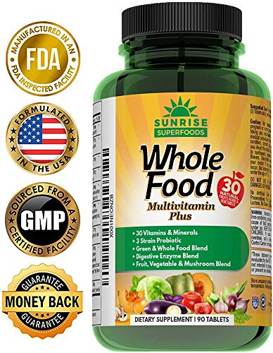 Ultimate Wholefood Multivitamin For Men & Women – Natural Probiotic, Omega 3 & 6, Mushroom & Whole Food Blends With 30 Vitamins & Minerals – Boost Digestion, Immune System & Metabolism – 90 Vegan Tabs