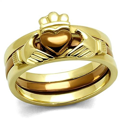Chocolate Stainless Steel Ring - Women's Irish Claddagh 14k Gold & Chocolate Plated Stainless Steel 3 Piece Wedding Ring Band Set Size 5-11 (10)