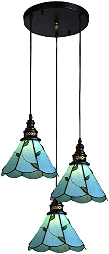 ANYE Tiffany 3-Lights Pendant Lighting Hardwired E26 Lamp Socket Mediterranean Style Pendant Ceiling Light for Restaurant Dining Room Loft Deco Bulb Not Included