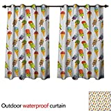 Emoji Bedding and Curtains Anshesix Ice Cream 0utdoor Curtains for Patio Waterproof Yummy Cones in with Emoji Faces Kids Boys Cartoon Design Print W72 x L63(183cm x 160cm)