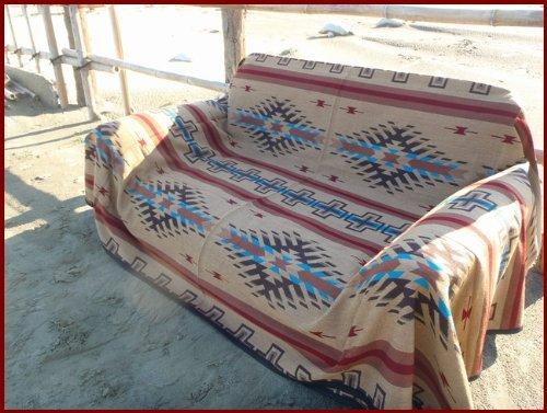RUG&PIECE ネイティブ柄 エクストラメキシカンラグマットカバー 250cm×225cm