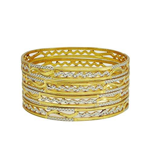 22k Gold Bangles - Banithani 18K Goldplated Traditional Indian Bracelets Bangle Set Designer Jewelry 26