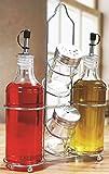 Circleware Social Cruet, 5 Piece Set, Oil and Vinegar Glass Dispenser Bottles-14 Ounce, Salt and Pepper Shakers-3 Ounce, 1 Metal Caddy