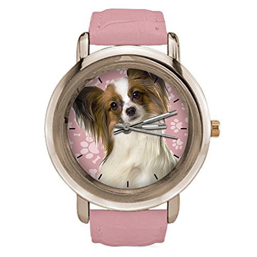 Dog Face Design Rose Gold Watches for Women - Papillon Dog,Pink Leather