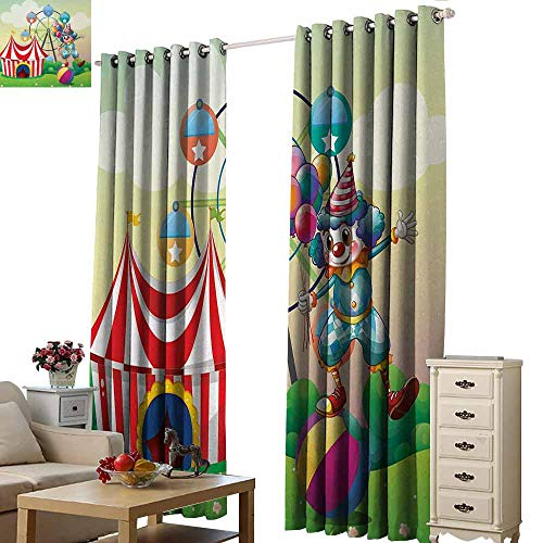 Homrkey Sliding Curtains Circus Decor Illustration of a Clown Balancing Above an Inflatable Ball at The Carnival Blackout Draperies for Bedroom Window W84 xL96 Multicolor