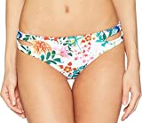 Roxy Junior's Solid Softly Love Reversible 70s Bikini Bottom, Bright White Floral Soiree, S