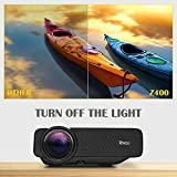 RAGU Z400 1800 Lumens Mini Portable Projector, Home Entertainment Video Projector Movie Theater LED Multimedia Projector Support HD 1080P for PC Laptop PS4 XBOX Smartphone Android iPhone TV Box, Black