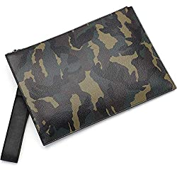 Babama Men Women Clutch Bag Unisex Camo Premium Leather Large Wristlet Handbag Designer Wallet Zipper Travel Purse