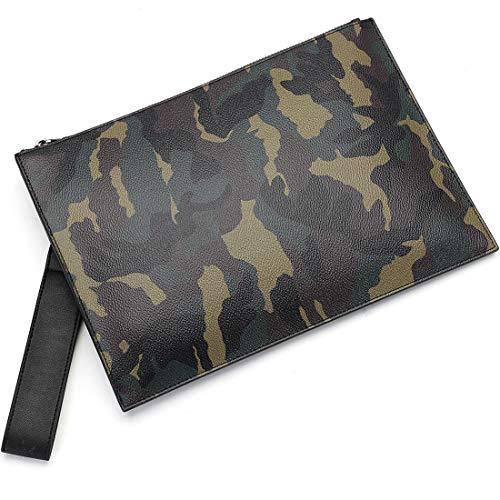 BABAMA Men & Women Clutch Bag Unisex Camo Premium Leather Large Wristlet Handbag Designer Wallet Zipper Travel Purse