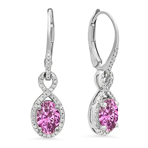 Pink Earrings Oval Sapphire (10K White Gold Oval Pink Sapphire & Round White Diamond Ladies Infinity Dangling Earrings)