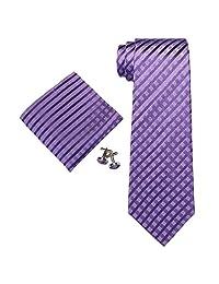"""Landisun Stripes Mens Silk Necktie Set: Tie+Hanky+Cufflinks 18A40 Dark Purple, 3.25""""Wx59""""L"""