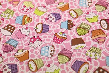 Small pink cupcakes cup cake pvc oilcloth vinyl fabric kitchen cafe