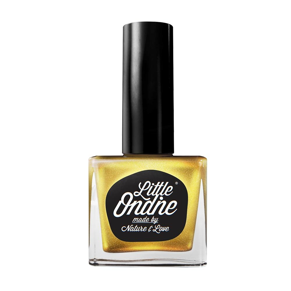Little Ondine Water-based Peel off Odor Free Quick Dry Non Toxic Natural Nail Polish-Metallic Gold 0.36 Fl Oz(L015-Golden Eye)