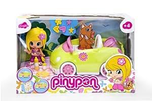 Famosa Pin y Pon Cochecito picnic - Coche de juguete para muñecos pinypon con 1 figura y accesorios, color verde