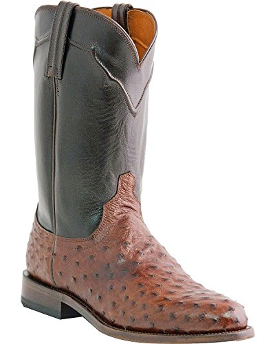 Lucchese Men's Handmade Full Quill Ostrich Napoli Roper Cowboy Boot Sienna 8.5 EE US