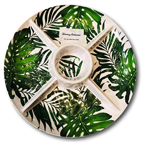 - Tommy Bahama Tropical Green Palm Leaves Melamine Chip and Dip Serving Tray
