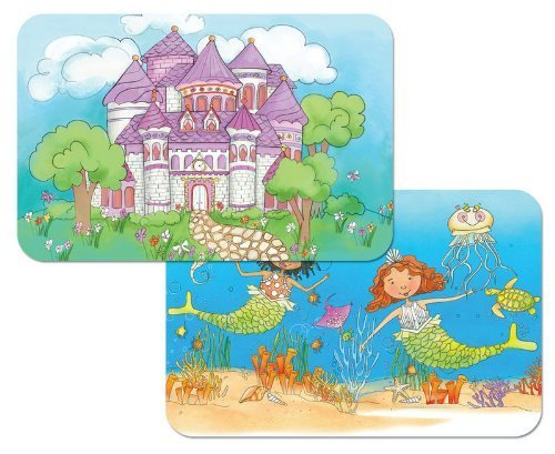 Kids Castle and Mermaids Reversible Washable Vinyl Placemats Set of Two -