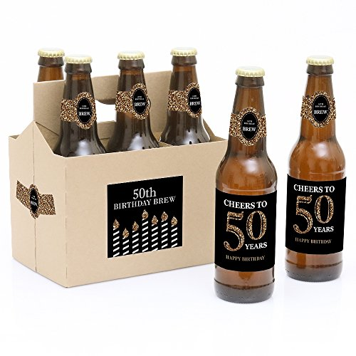 Adult 50th Birthday - Gold - 6 Beer Bottle Labels with 1 Beer (50th Birthday Beer)