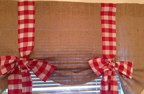 Handmade Tie Up Valance Window Treatment Burlap Tie up Valance Red Gingham