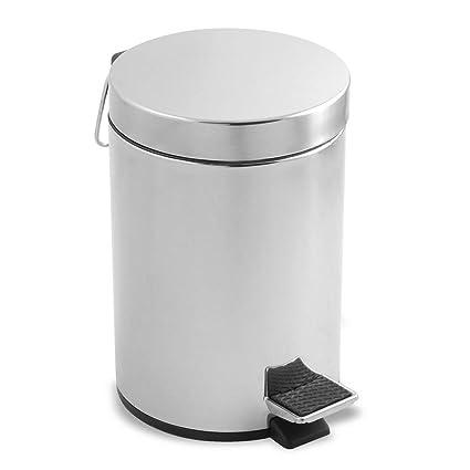 Metaltex 298324 - Cubo de Pedal Redondo de Acero Inoxidable, 20 litros, 29 x 45 centímetros