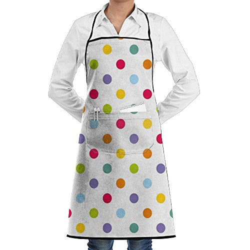 CNWXGGGL Apron For Kitchen Cooking-Vintage Polka Dots In Pastel Colors On Blank Background Cheerful Desing Illustration