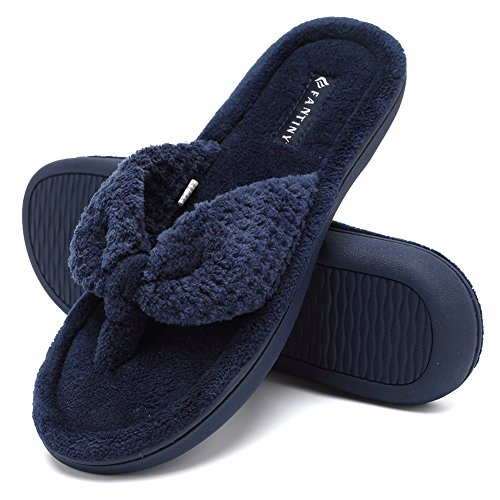 CIOR Fantiny Women's Cozy Memory Foam Spa Thong Flip Flops House Indoor Slippers Plush Gridding Velvet Lining Clog Style-U1MTW017-Navy Blue-38-39