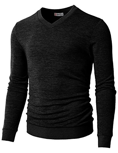 (H2H Men's Polo V-Neck Pima Cotton Pony Logo Sweater Black US 3XL/Asia 4XL (CMOSWL018))
