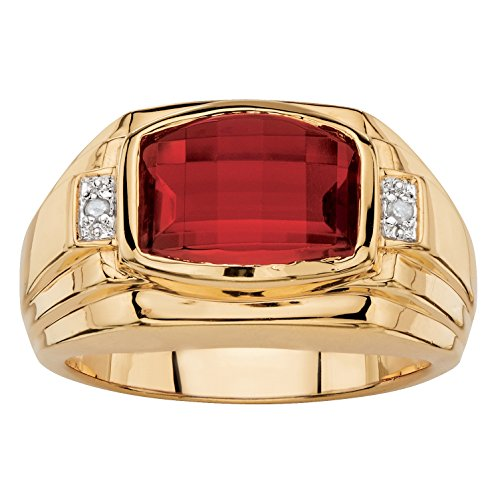 Cushion Cut Men Ring (Men's Cushion-Cut Lab Created Red Ruby and Diamond Accent 18k Gold-Plated Ring)