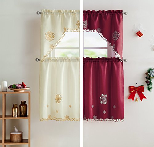 VCNY Home Starburst Christmas Kitchen Curtain Tier & Swag