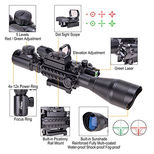 Pinty Rifle Scope 4-12×50 Rangefinder Illuminated Optics with 4 Reticle Red Green Reflex Sight, Green Dot Laser Sight