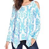 Molyveva Lady Casual Off Shoulder Print Blouse T-Shirt Long Sleeve Irregular Top