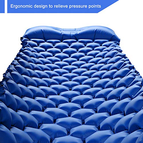 HULIONS Ultralight Sleeping Pad-Compact Inflatable Sleep Mat with Pillow  Air Camping Mattress for Backpacking Tenting Traveling and Hiking -Plus