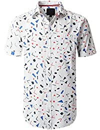 Mens Hipster Hip Hop Graphic Short Sleeve Woven Button Down Shirts