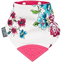 Cheeky Chompers Neckerchew Dribble Bib Joules Design Anna Floral, Pink Multi,...