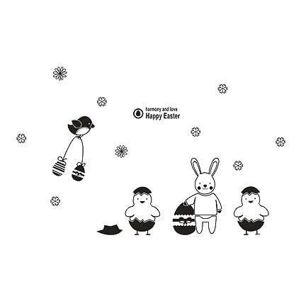 Amazoncom Movemen Wall Stickers Happy Easter Rabbit Vinyl Decal