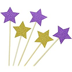 IDS Pack of 48 Gold and Purple Star Cupcake Toppers Glitter Cupcake Decorations for Boy Girl for Birthday Wedding Ceremony