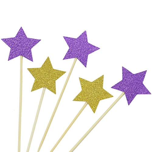 (IDS Pack of 48 Gold and Purple Star Cupcake Toppers Glitter Cupcake Decorations for Boy Girl for Birthday Wedding)