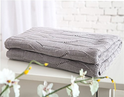 Bamboo Throw Woven (DOUH Bamboo Fiber Knit Throw Blanket Super Soft Hand-Woven Throw Cover for Couch/Sofa/Bed Two 47