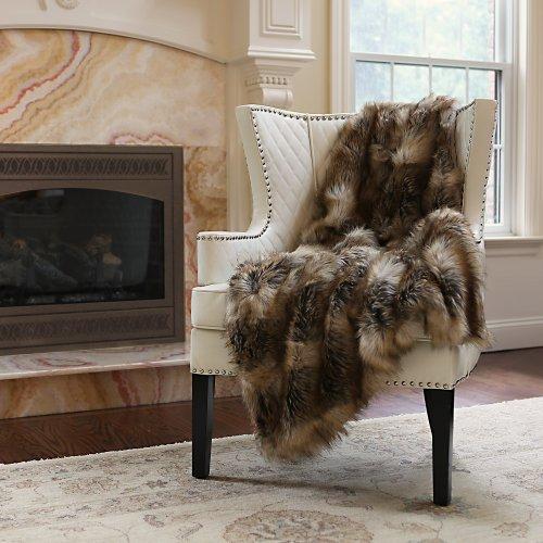 Best Home Fashion Faux Fur Throw - Lap Blanket - Amber Fox - 58''W x 36''L - (1 Throw) by Best Home Fashion