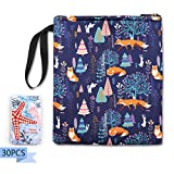 Book Sleeve Fox and Bunny Print - Size 8.9'x 10' Book/Planner/iPad Mini/Kindle Protecting Cover with 30Pcs Inspirational Cards