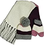 Kate Spade Hand Knit Colorblock Hat,Mittens,Scarf Set, Grey/Cherry/Cream