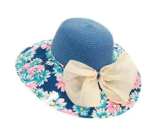 2014 Spring New Arrival Navy Daisy Bow Knot Flopy Straw Hat Beach Hat for Women