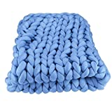 Braid Cotton Chunky Arm Knitting Blanket,Queen Bed Blanket 79''x79'' Super Chunky Blanket,Giant Knit Blanket,Thick Hand Blanket Friend Family Gift