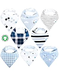 Baby Bandana Drool Bibs 8 Pack for Boys and Girls Soft...