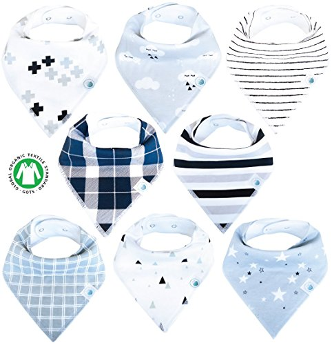 Price comparison product image Baby Bandana Drool Bibs 8 Pack for Boys and Girls Soft Organic Cotton With Snaps for Teething Drooling Feeding Unisex Baby Shower Gift Newborn Registry Gift Set Burp Cloth (Black White Stars Cloud)