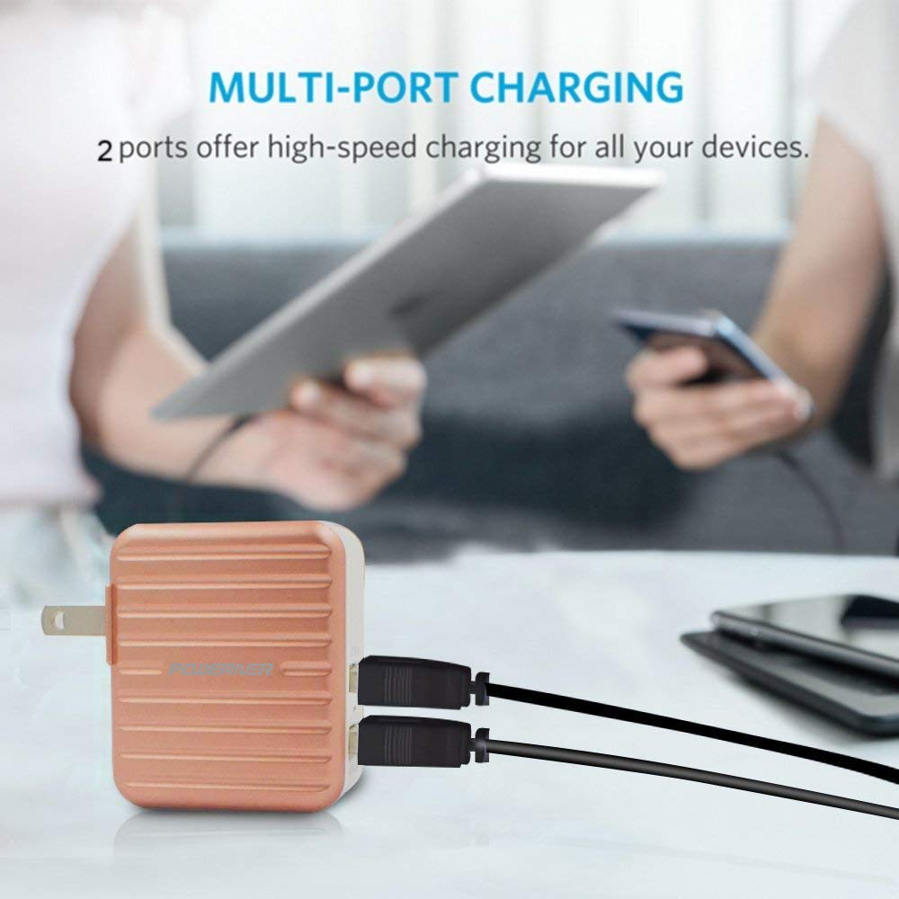 Wall Charger, POWERIVER Fast Charger Portable Charger 2-Port USB Charger for iPhone 7/6s/6 Plus, iPad, Samsung and More (Gold)