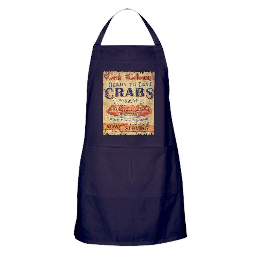 CafePress - Crab Seafood Woodgrain Sign Apron (Dark) - 100% Cotton Kitchen Apron with Pockets, Perfect Grilling Apron or Baking Apron